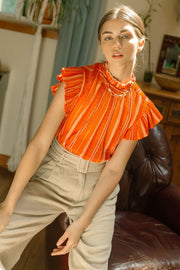 Lori Flutter Sleeve Blouse, orange