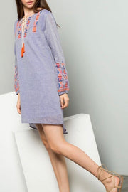 Allison Chambray dress with tassels