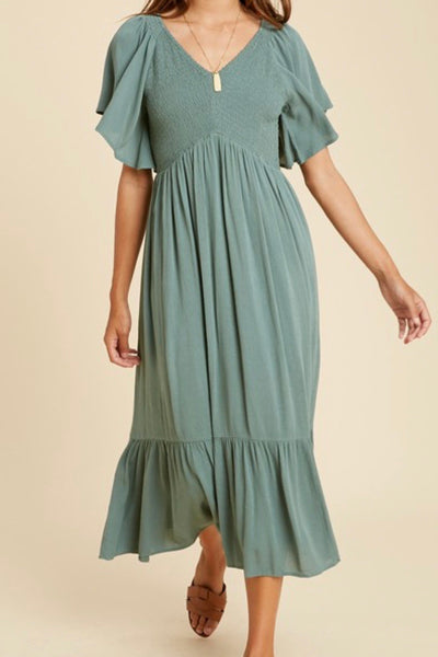 Sellers Flutter Sleeve Dress, sage