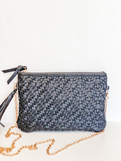 East Village tassel clutch, black