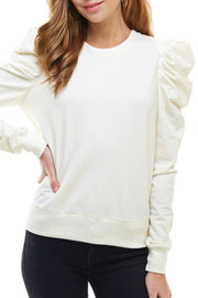 Ellie puff sleeve top, cream