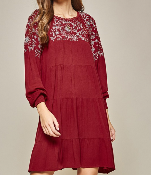 Columbia tiered embroidered dress