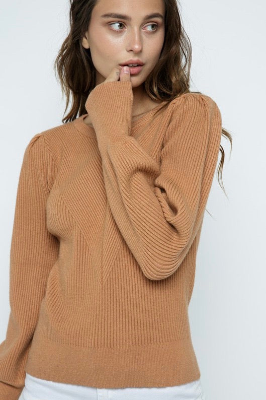 Burlington Puff Sleeve Sweater, camel
