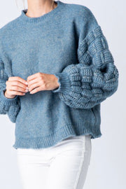 Allen statement sleeve sweater, Two-Tone Blue