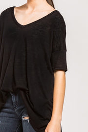 Denise Vneck top, black