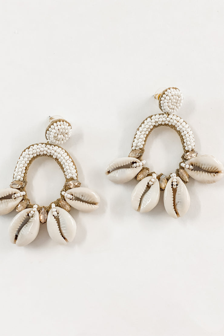 Melissa cowrie shell and white bead earrings
