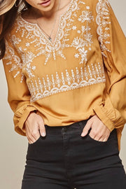 Tyler Embroidered Top, Marigold