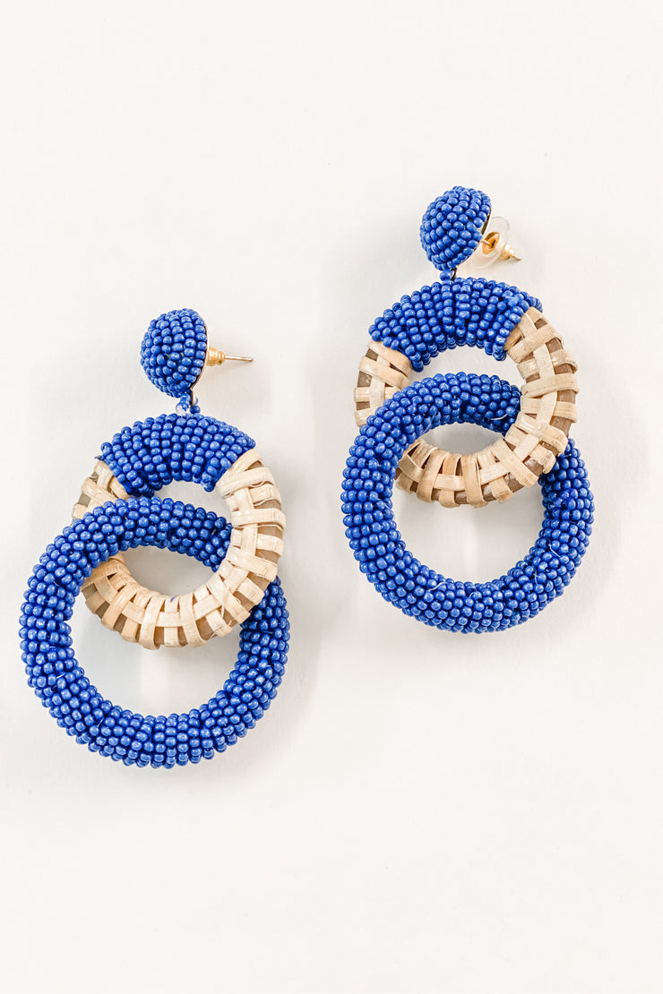 Holly Beaded and Raffia Circle Drop Earrings, blue