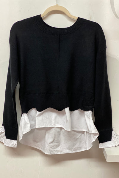 The Post House combo sweater top, black