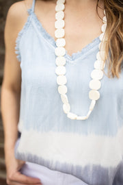 Ginger bone bead necklace, cream