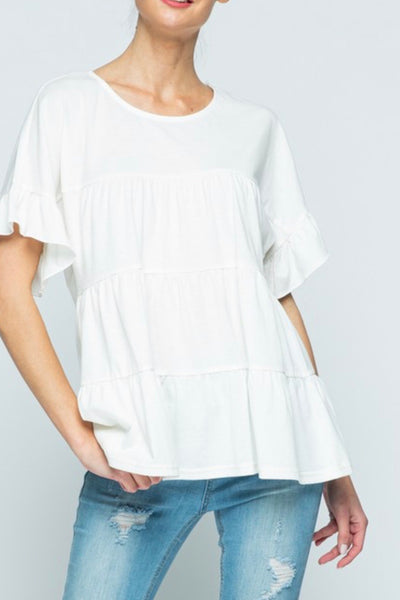 Rebecca Tiered Top, White