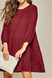 Baker Dress, Burgundy