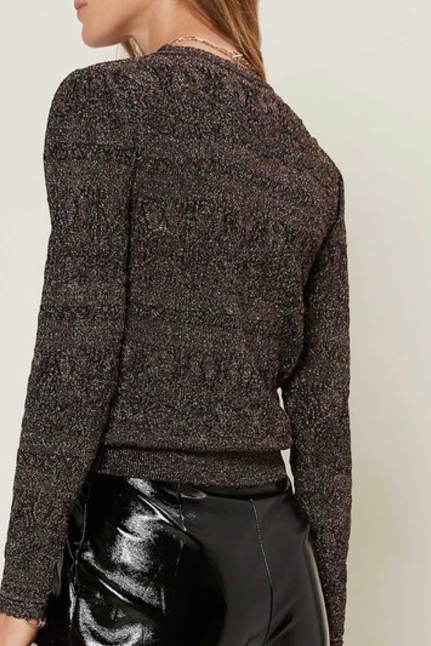 Lincoln Pointelle Sweater Top, Metallic Brown