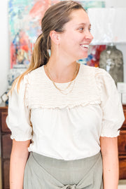 Ansley cream bib top