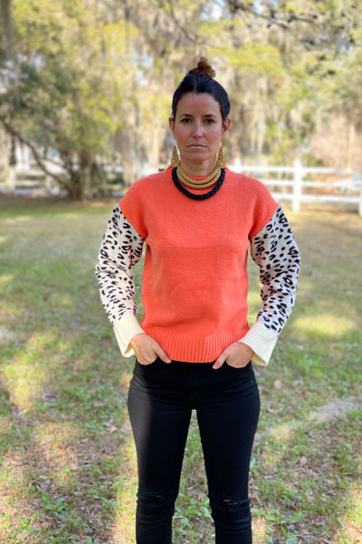 Betty Leopard Sleeve Sweater