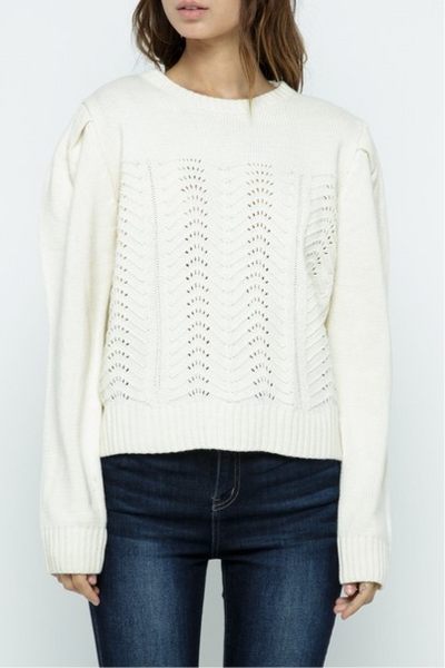 Tryon Pointelle Sweater, natural
