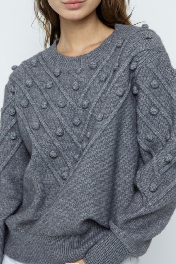 Braden Knit Pom Pom sweater, grey