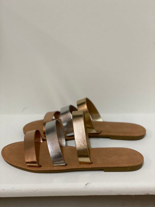 Station 26 metallic slide sandals