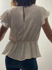 Ashley Ruffled Sleeve woven top, off white
