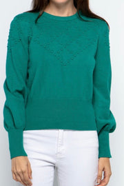 Laney pullover sweater with Pom Pom, holly green