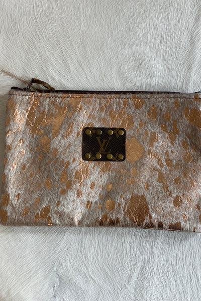 Blanton Upcycled LV leather cowhide clutch, rose gold