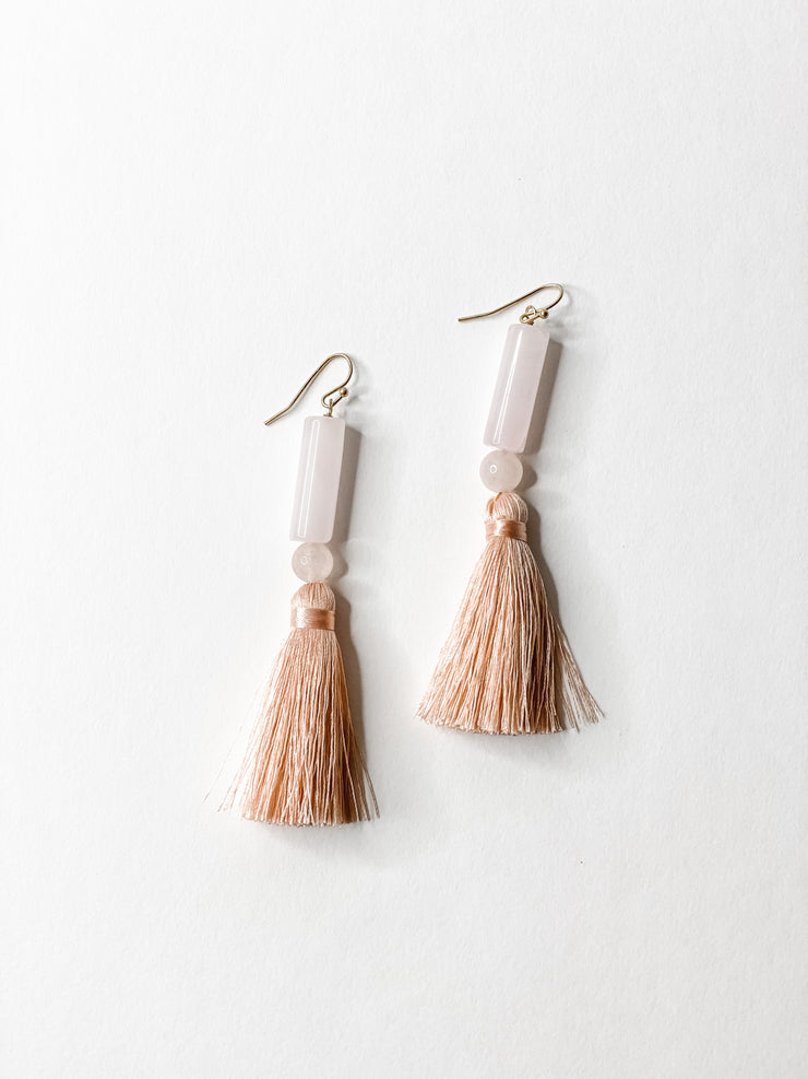 Linear lt pink drop earrings