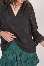 Alice floral blouse. black