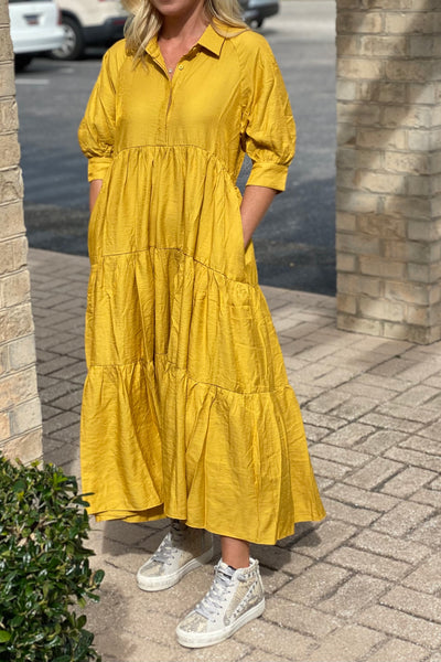 Amanda Tiered Cotton Dress, yellow