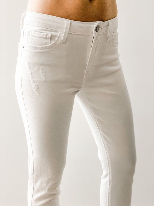 Palm Springs High Rise Skinny Jeans with Destroyed Hem, white