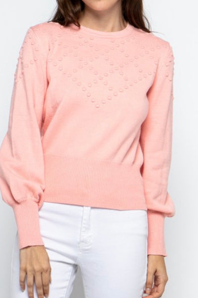 Laney pullover sweater with Pom Pom, pink