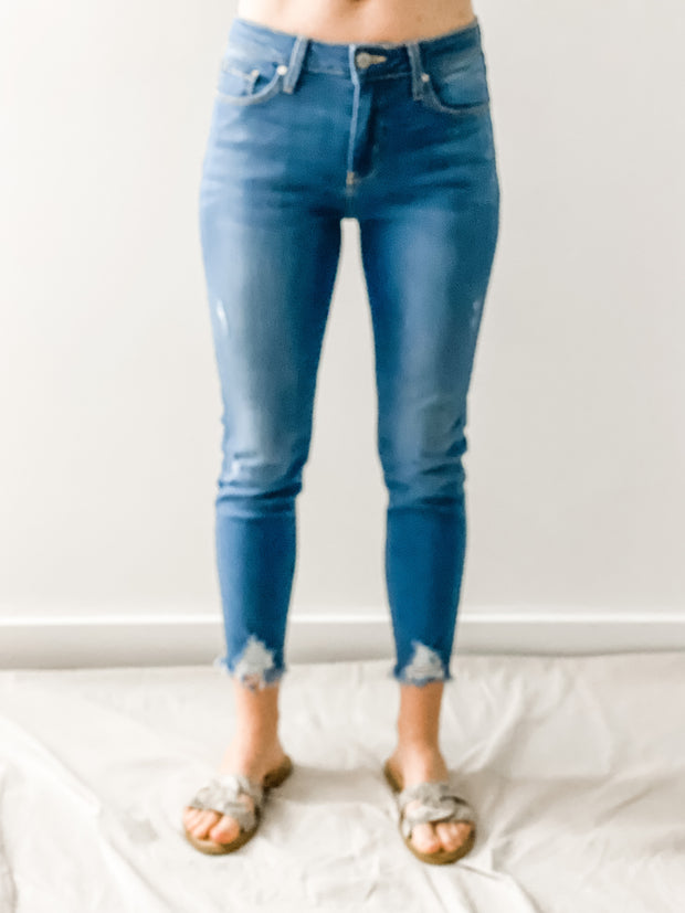 Naples Basic Skinny Jeans with Hem Destruction, Light Denim