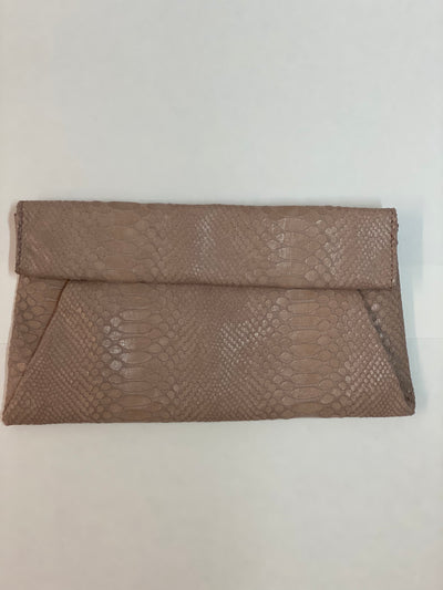 Upper East Side foldover snakeskin clutch