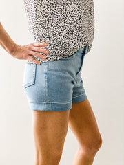 Malibu High Rise Cuffed Denim Shorts, Light Denim