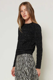 Lincoln Pointelle Sweater Top, Metallic Black