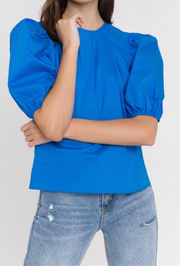 Lacy Poplin Top, royal blue