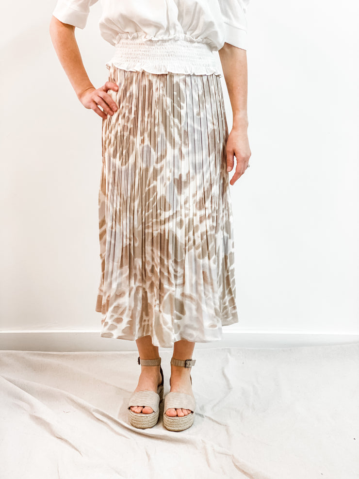 Garden Party Midi Flare Pleated Skirt