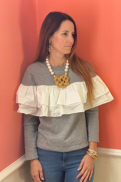 Virginia ruffle sweatshirt top