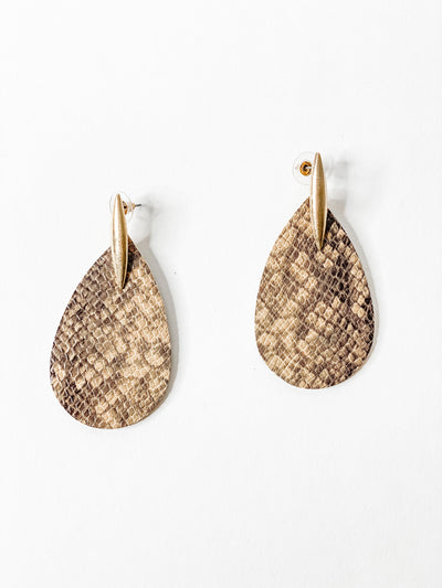 Snakeskin Oval with Gold Drop, Brown