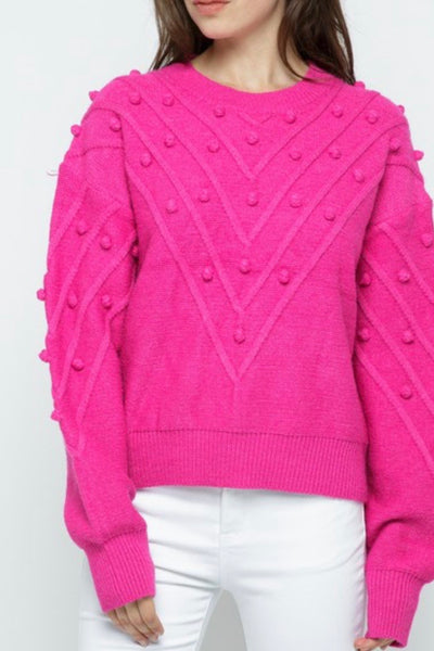 Braden Knit Pom Pom sweater, pink
