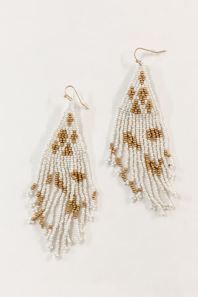 Nosara white beaded fringe earrings
