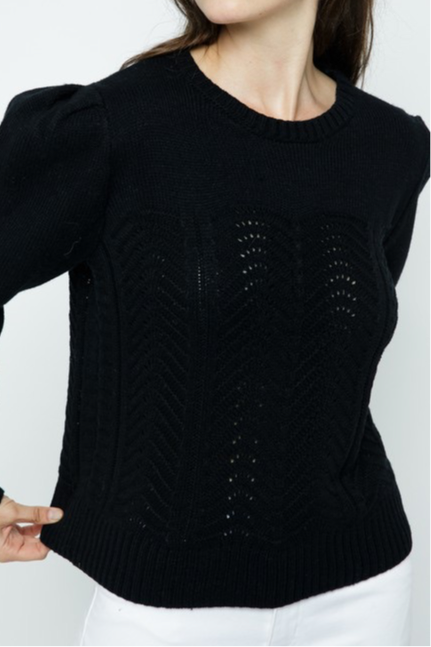 Tryon Pointelle Sweater, black