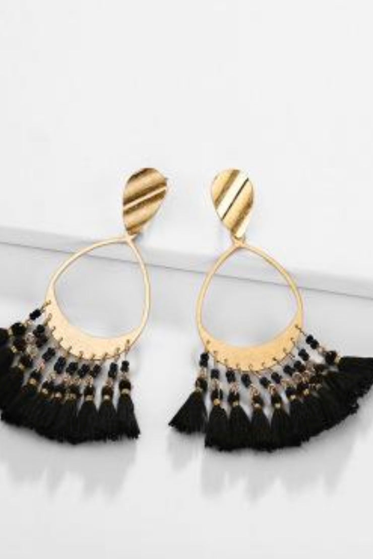 Willie B black fringe earrings