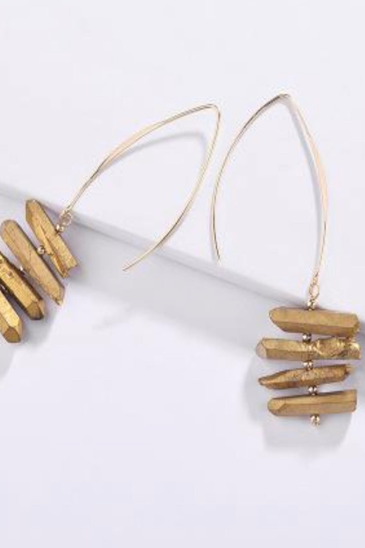 Bell gold dangle stack earrings