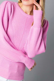 Burlington Puff Sleeve Sweater, pink