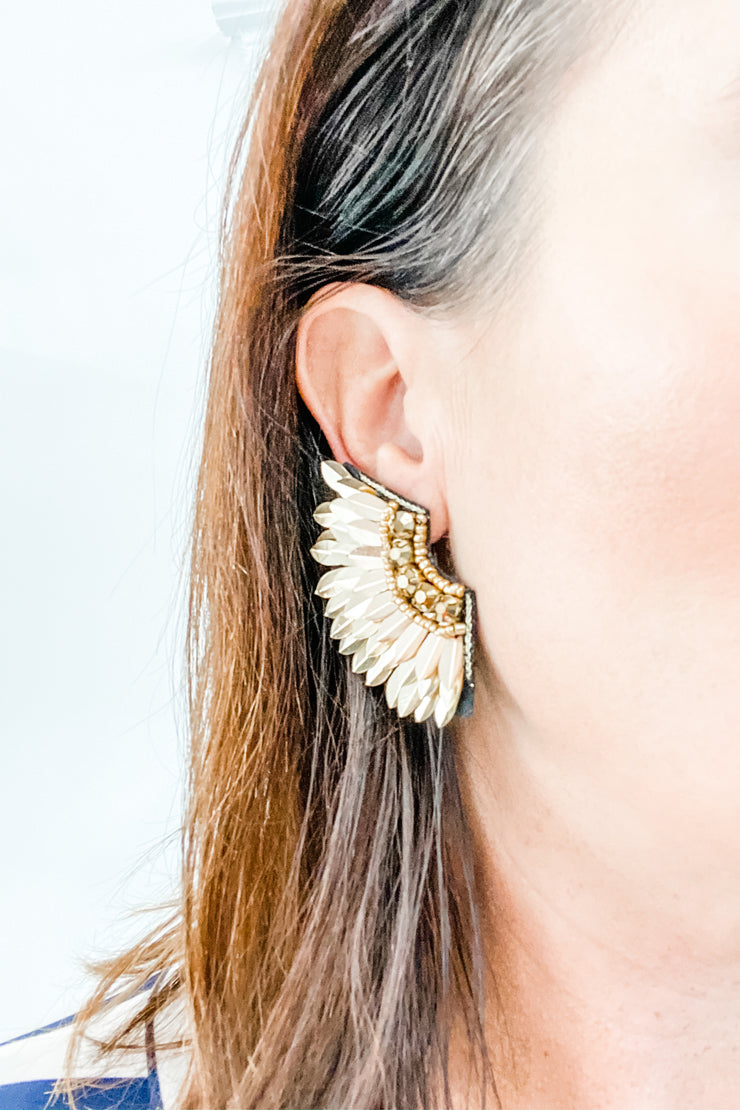 Gold feather wing earrings