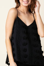 Pawleys Island Pom Pom cami top, black