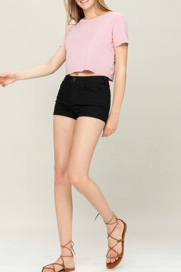 Evelyn rolled denim shorts, black
