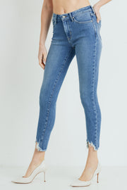 12 South High Rise Skinny with Hem Destruction Jeans, med denim