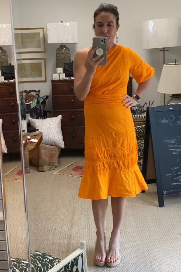 Cumberland Island One shoulder midi dress, tangerine