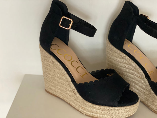 Jessica Wedge Sandal, Black